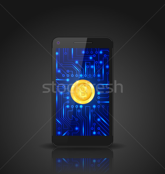 Foto stock: Bitcoin · moneda · minería · digital · dinero · virtual