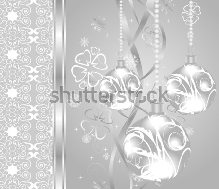 elegant christmas background with baubles Stock photo © smeagorl