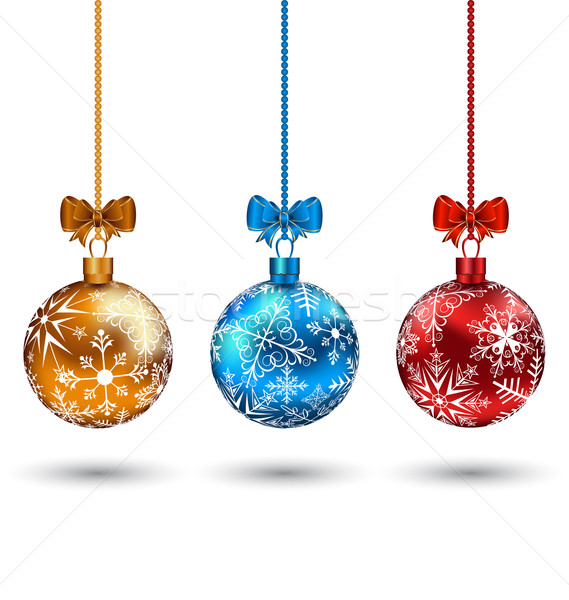 Christmas multicolor balls with bows isolated on white backgroun Stock photo © smeagorl
