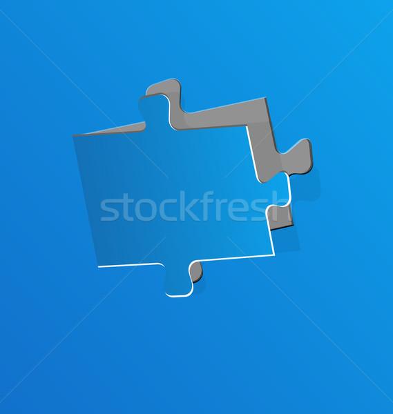 Kivágás puzzle darab kék papír illusztráció Stock fotó © smeagorl