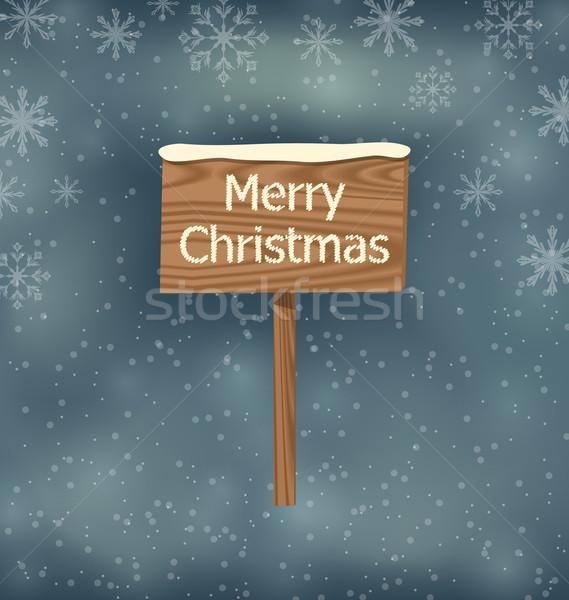 Neige couvert joyeux Noël illustration Photo stock © smeagorl