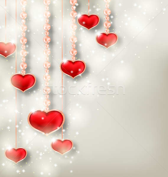 Shimmering background with hanging hearts for Valentine Day Stock photo © smeagorl