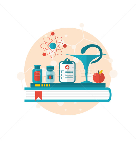 set flat icons of objects medicine laboratory, concept of health Stock photo © smeagorl
