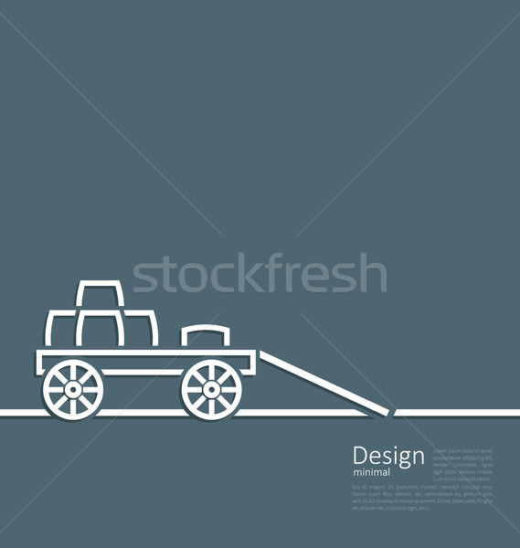 Stock photo: Freight wagon cartage loaded with wine casks