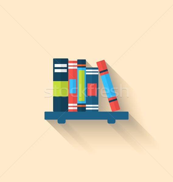 Renkli farklı kitaplar raf uzun gölgeler Stok fotoğraf © smeagorl