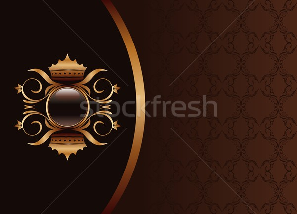 Illustration the black gold brown invitation frame or packing fo Stock photo © smeagorl