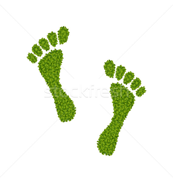 Human Footsteps Made in Green Leaves Stock photo © smeagorl