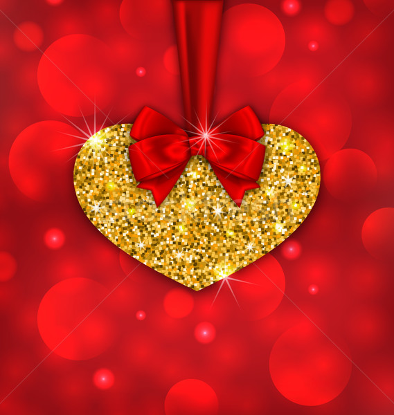 Shimmering Golden Heart with Red Ribbon Stock photo © smeagorl