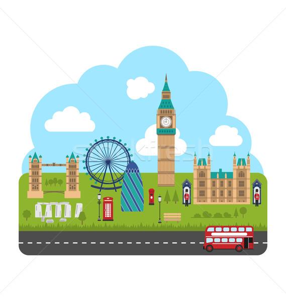 Londra Inghilterra urbana illustrazione viaggio turismo Foto d'archivio © smeagorl