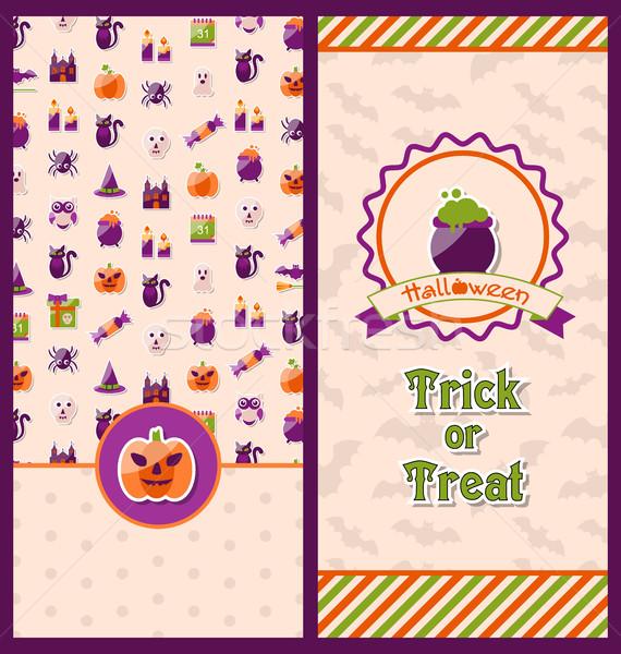 Photo stock: Halloween · cartes · postales · vertical · bannières · illustration · fête