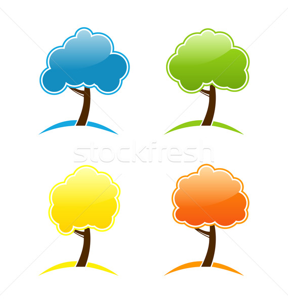 Four seasonal icons with tree Stock photo © smeagorl
