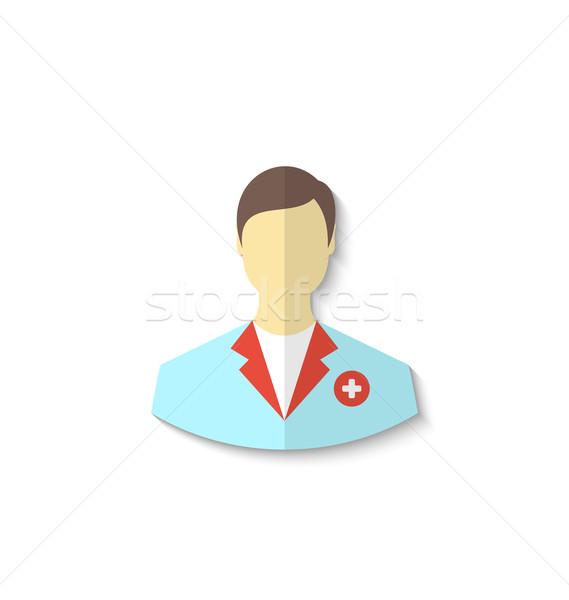 Ikon tıbbi doktor gölge yalıtılmış beyaz Stok fotoğraf © smeagorl