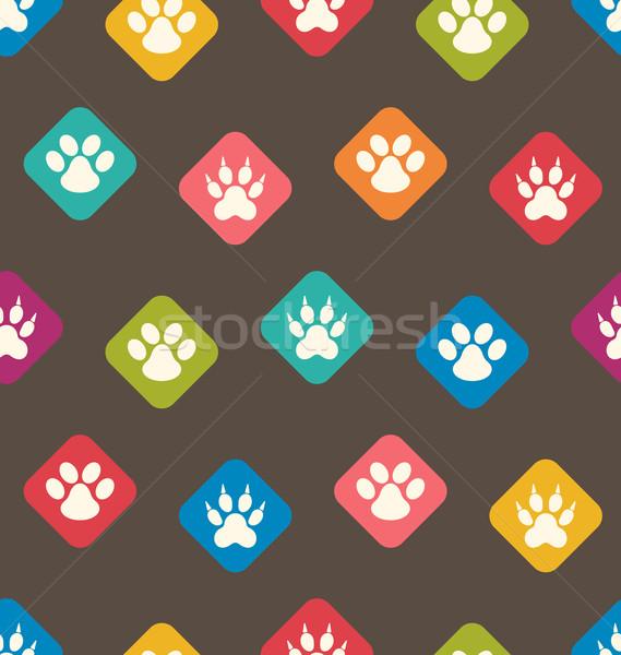シームレス テクスチャ カラフル 猫 犬 足跡 ストックフォト © smeagorl