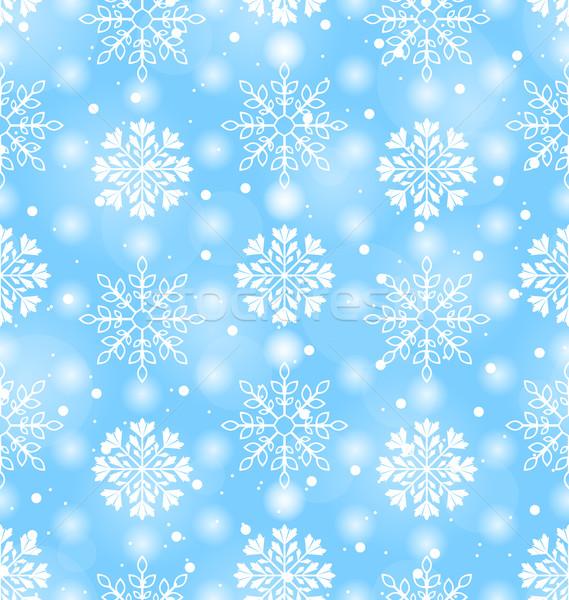 Senza soluzione di continuità texture variazione fiocchi di neve illustrazione vacanze Foto d'archivio © smeagorl