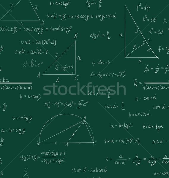Sem costura trigonometria padrão verde letra escolas Foto stock © smeagorl