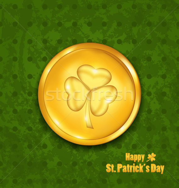golden coin with three leaves clover. Grunge St. Patrick's backg Stock photo © smeagorl