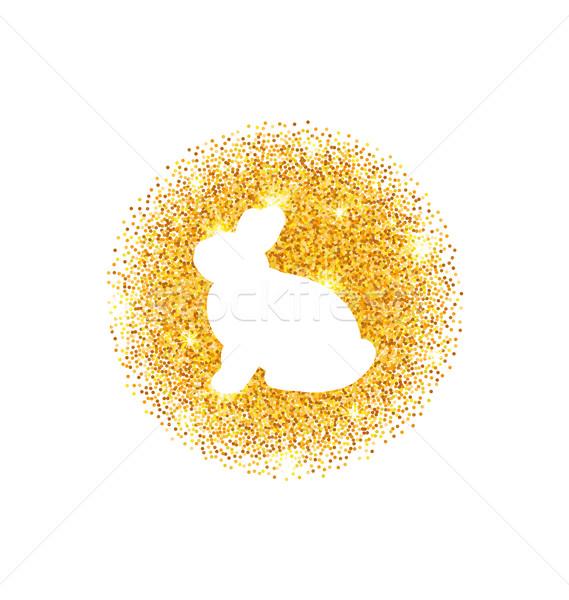 Résumé joyeuses pâques or glitter lapin illustration Photo stock © smeagorl