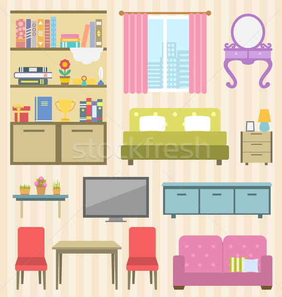Stock photo: Set of Colorful Furniture of Room for Your Interior of Apartment