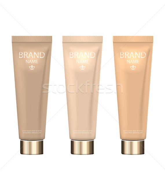 Set Realistic Packages of Foundation with Different Shades Stock photo © smeagorl