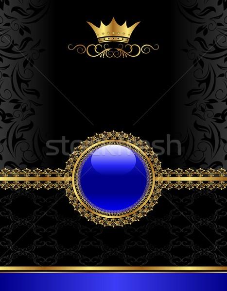 Golden Jahrgang Rahmen floral Medaillon Illustration Stock foto © smeagorl