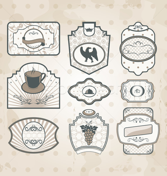 Set of vintage ornate labels, decor design elements Stock photo © smeagorl