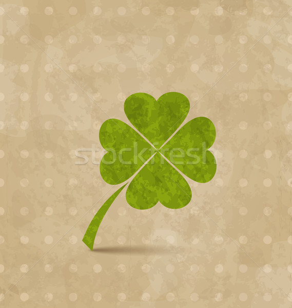 Vintage design with four-leaf clover for St. Patrick's Day Stock photo © smeagorl