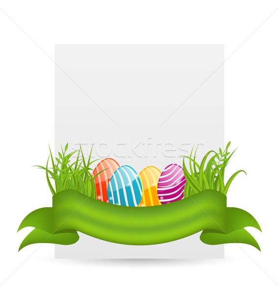 Wielkanoc kolorowy jaj zielona trawa pusty papieru Zdjęcia stock © smeagorl