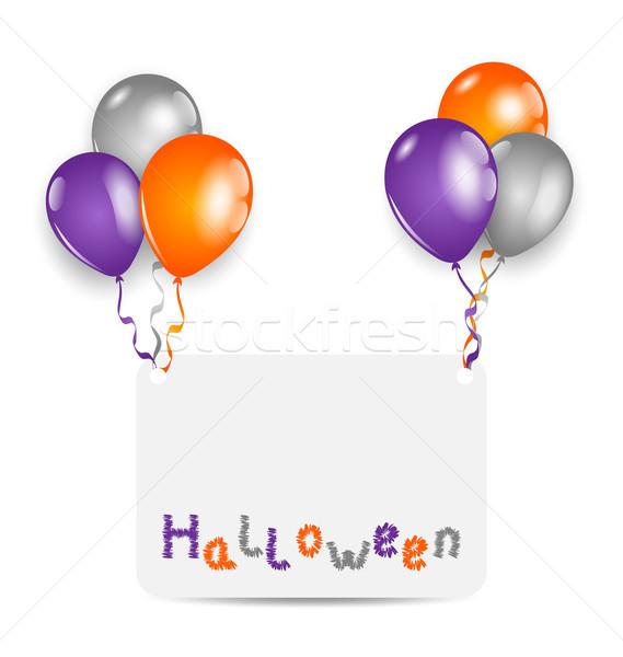 ストックフォト: ハロウィン · カード · セット · カラフル · 風船 · 実例