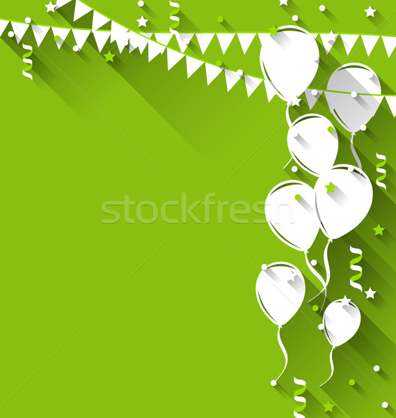 Happy birthday background with balloons and hanging pennants, tr Stock photo © smeagorl