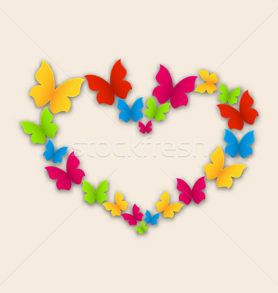 Celebration postcard with heart made in colorful butterflies for Stock photo © smeagorl