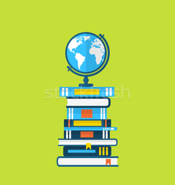Flat icons of globe and heap handbooks Stock photo © smeagorl