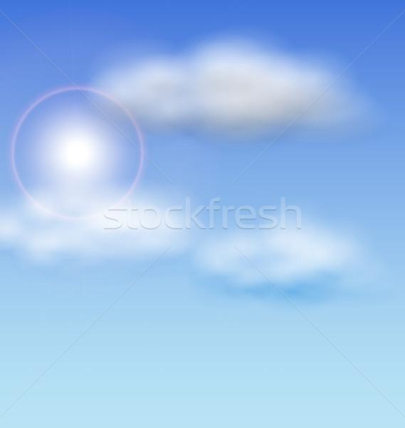 Blauwe hemel zonlicht pluizig wolken illustratie voorjaar Stockfoto © smeagorl