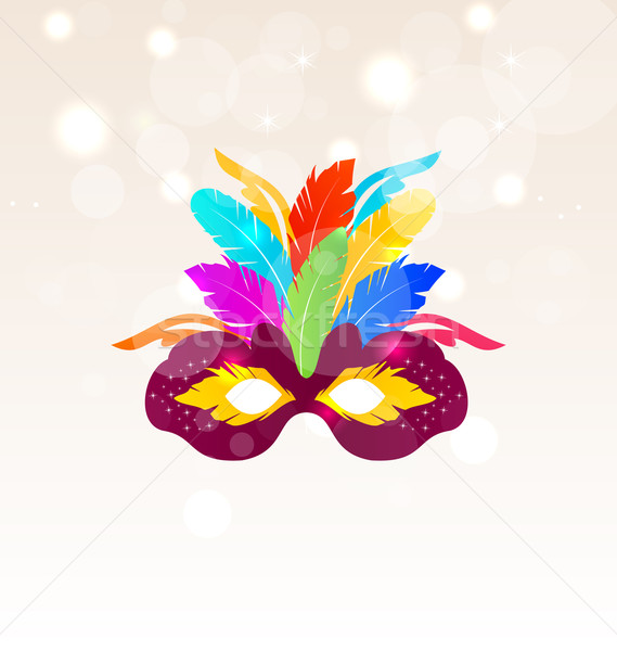 Colorful Carnival Mask with Feathers on Glowing Background Stock photo © smeagorl