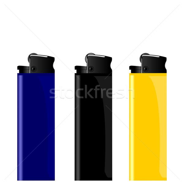 Realista ilustração três isqueiro preto Foto stock © smeagorl