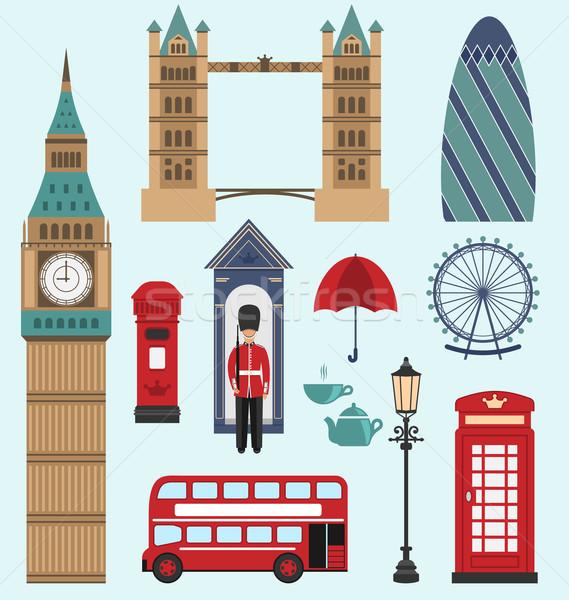 Koninkrijk iconen illustratie collectie Engeland kleurrijk Stockfoto © smeagorl