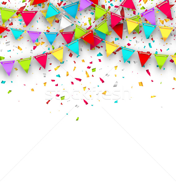 Colorful Background with Hanging Bunting and Confetti for Your Party Stock photo © smeagorl
