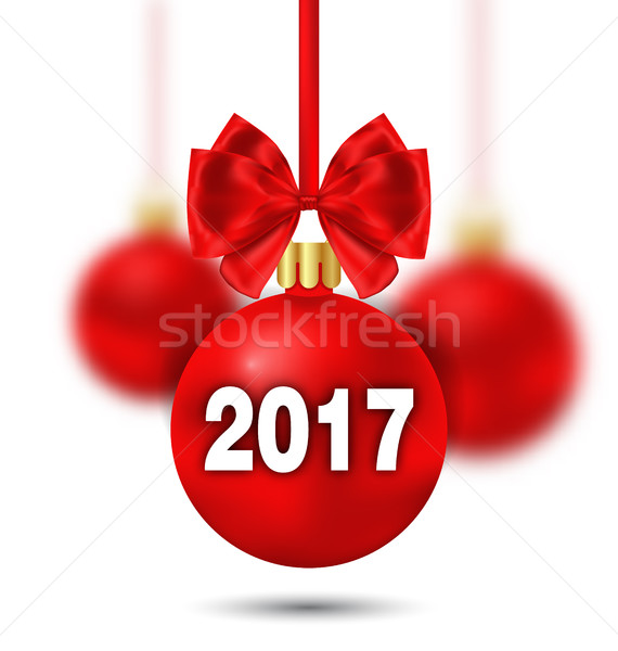 Red Christmas Ball with Bow and Blur Balls Stock photo © smeagorl