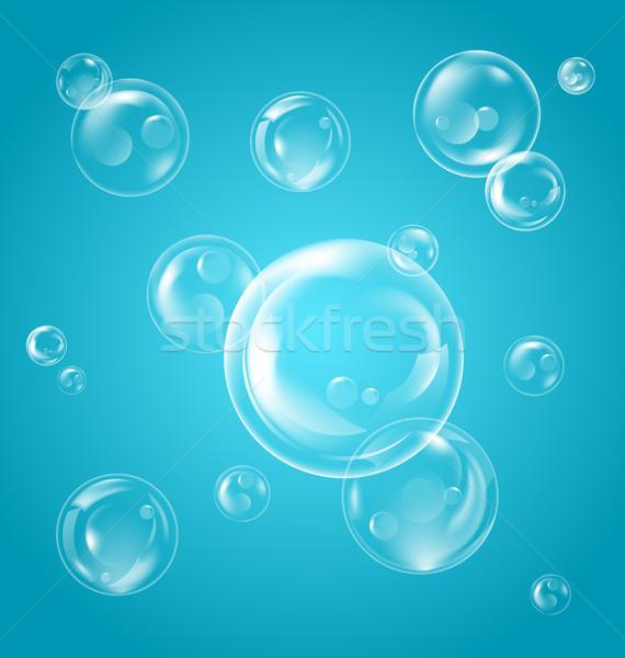 Stock fotó: Valósághű · átlátszó · szappanbuborékok · tükröződés · kék · illusztráció