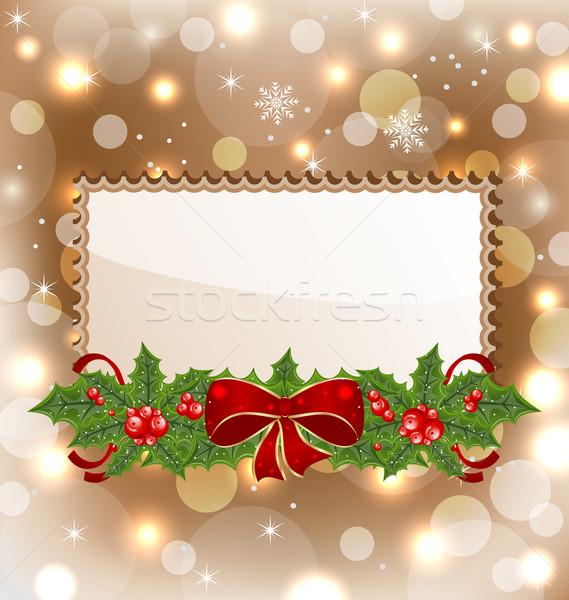Weihnachten eleganten Karte Mistel Bogen Illustration Stock foto © smeagorl