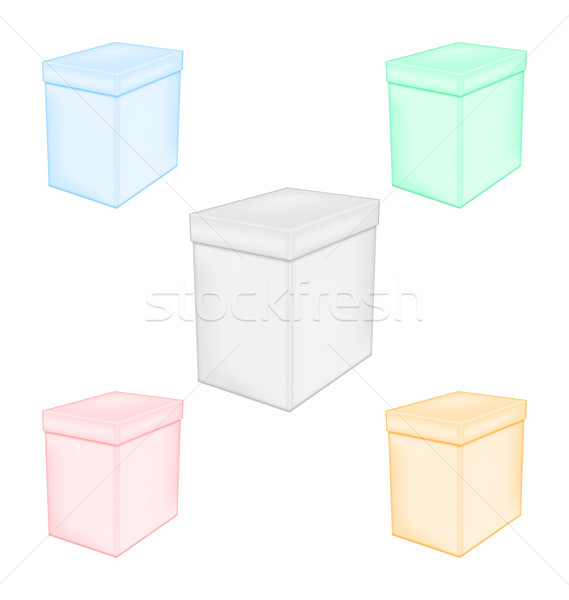 Group colorful closed unprinted boxes Stock photo © smeagorl