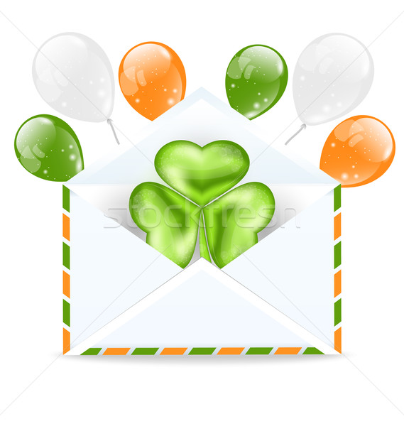 Envelope with clover and colorful ballons isolated on white back Stock photo © smeagorl