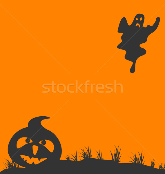 Halloween background with pumpkin and ghost Stock photo © smeagorl