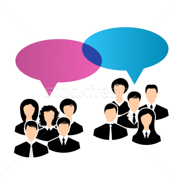 Ikonok üzlet csoportok vélemények beszéd illusztráció Stock fotó © smeagorl