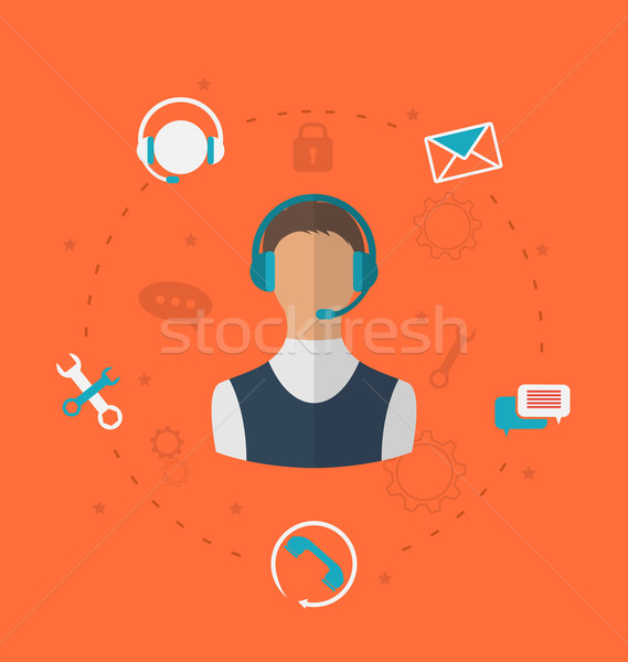 Concept of 24h online available customer support, help desk male Stock photo © smeagorl