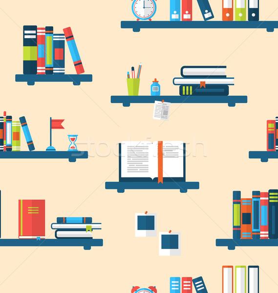Sem costura textura livros prateleiras para livros ilustração mínimo Foto stock © smeagorl