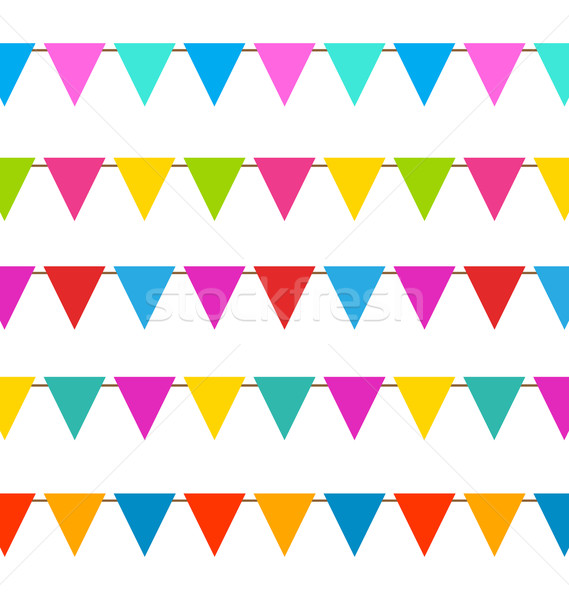 Set Hanging Bunting Pennants, Colorful Decoration Stock photo © smeagorl