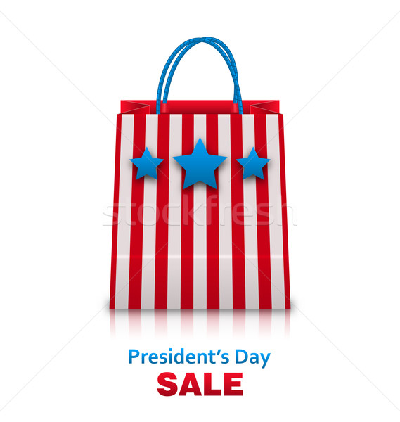 Shopping Bag in USA Patriotic Colors for Presidents Day Sale. Pa Stock photo © smeagorl