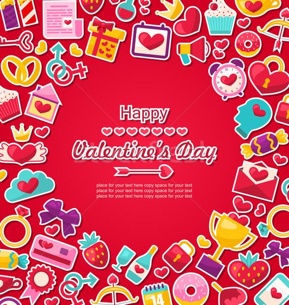 Viering briefkaart valentijnsdag illustratie Valentijn iconen Stockfoto © smeagorl