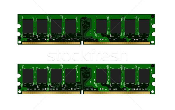 Stock fotó: Kettő · zöld · háttér · piros · kommunikáció · áramkör