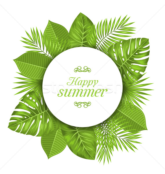 Natural Card with Green Tropical Leaves Stock photo © smeagorl